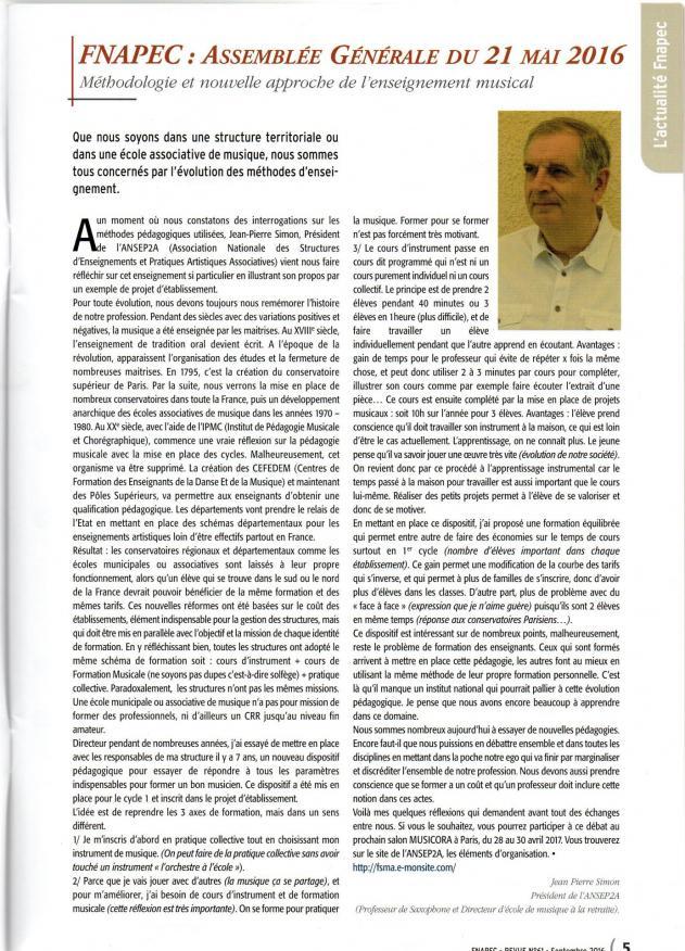 Article sur la revue de la fnapec 2017